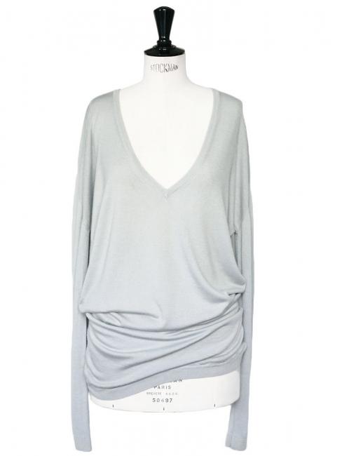 Robe pull en cachemire et soie gris bleu Prix boutique 450€ Taille 38/40