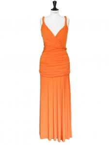 Robe longue sans manches en jersey drapé orange Taille 36