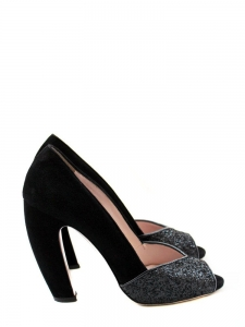 Black suede and glitter peep toe sandals heels Retail price 500€ Size 38