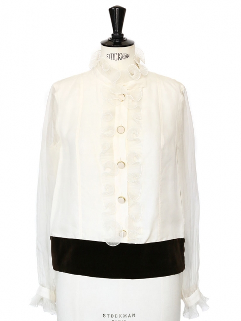 Brown velvet and white ruffled silk blouse Retail price €1250 Size 40