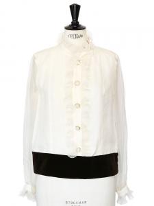 Brown velvet and white ruffled silk blouse Retail price €1250 Size 40