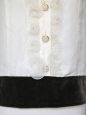 Blouse à volants en soie blanche et velours marron Px boutique 1250€ Taille 40