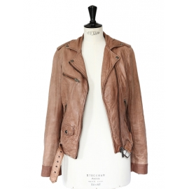 Chestnut brown leather perfecto biker jacket Size 38