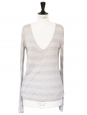 Grey and pink striped V neck sweater Retail price €160 Size 38