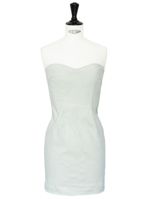 Colin water green stretch linen strapless dress Retail price €320 Size 36