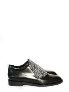 Black and white glazed leather flat oxford shoes Size 39.5