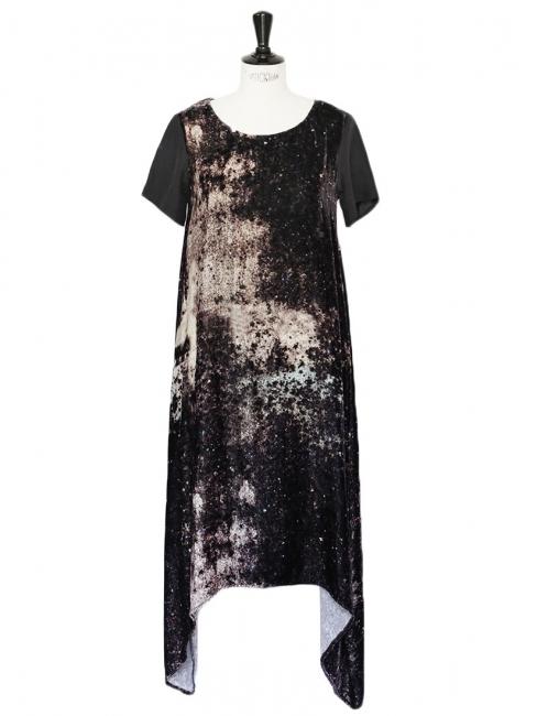 JF & Sons Black galaxy printed velvet short sleeves dress Size S
