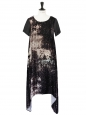 JF & Sons Black galaxy printed velvet short sleeves dress Size S