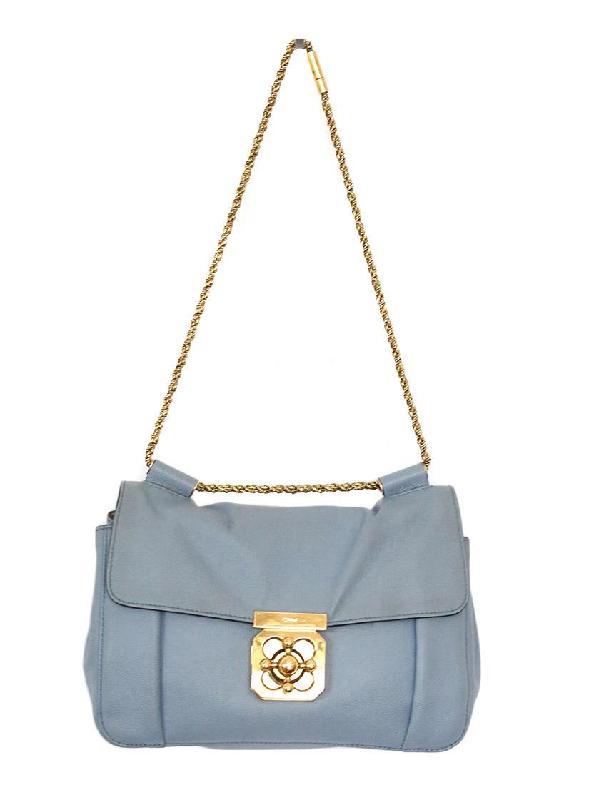 Louise Paris - CHLOE Elsie medium light blue textured-leather ...