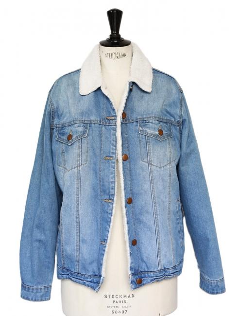 Veste blouson boyfriend en jean bleu clair et fausse fourrure mouton Taille M