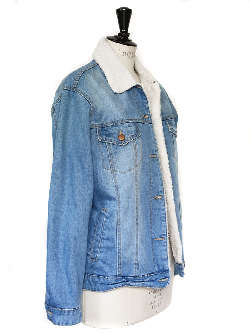 Louise Paris Shearling Jacket In Light Blue Denim And