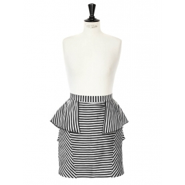 Black and grey striped linen and cotton ruffle skirt Size 38