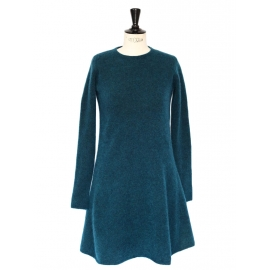 Teal blue mohair and wool knitted flared dress Retail price 750€ Size 36