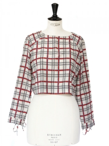 Plaid printed cropped top with 3/4 sleeves Size 36