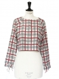 Plaid printed cropped top with long sleeves Size 36