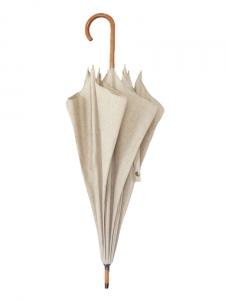 Parapluie en toile beige et canne en bois clair Px boutique 150€