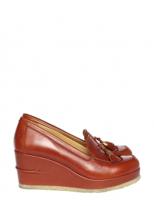 Brick red leather wedge tassel loafers Retail price 300€ Size 38.5