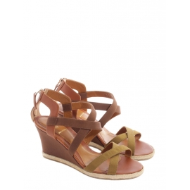 Camel brown leather and cotton canvas wedge sandals NEW Retail price €600 Size 38