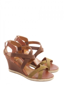Camel brown leather wedge sandals NEW Retail price 600€ Size 38