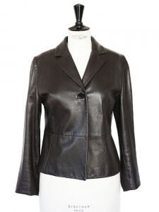 Veste cintrée en cuir chocolat Px boutique 1600€ Taille 38