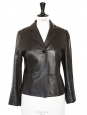 Chocolate brown leather fitted jacket Retail price €1600 Size 38
