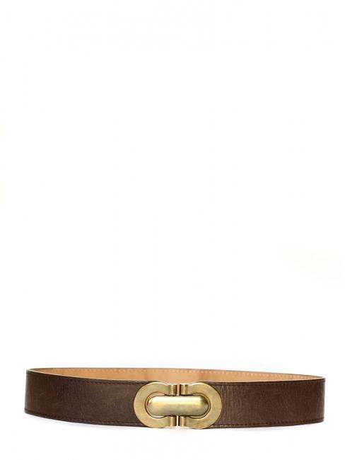 Ceinture large Héloïse en cuir marron à boucle clip en laiton doré Px  boutique ... b77048420e7