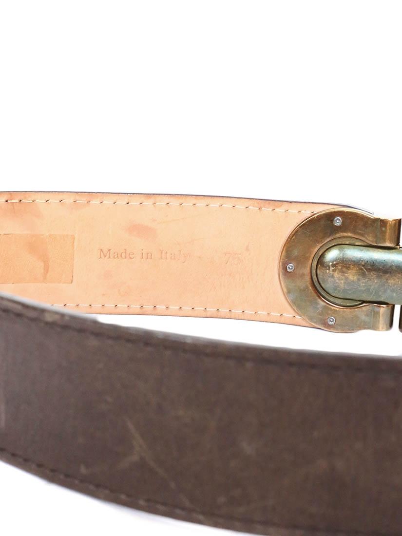 ... Ceinture large Héloïse en cuir marron à boucle clip en laiton doré Px  boutique 295€ f7649ee99d2