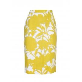 Jupe crayon taille haute imprimé floral jaune et blanc Px boutique 750€ Taille 36