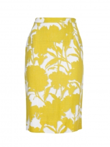 Yellow and white floral printed high waist pencil skirt Size 36