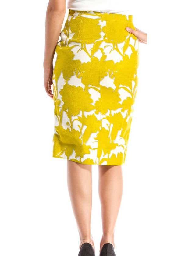 louise paris prada jupe crayon taille haute imprim floral jaune et blanc taille 36. Black Bedroom Furniture Sets. Home Design Ideas