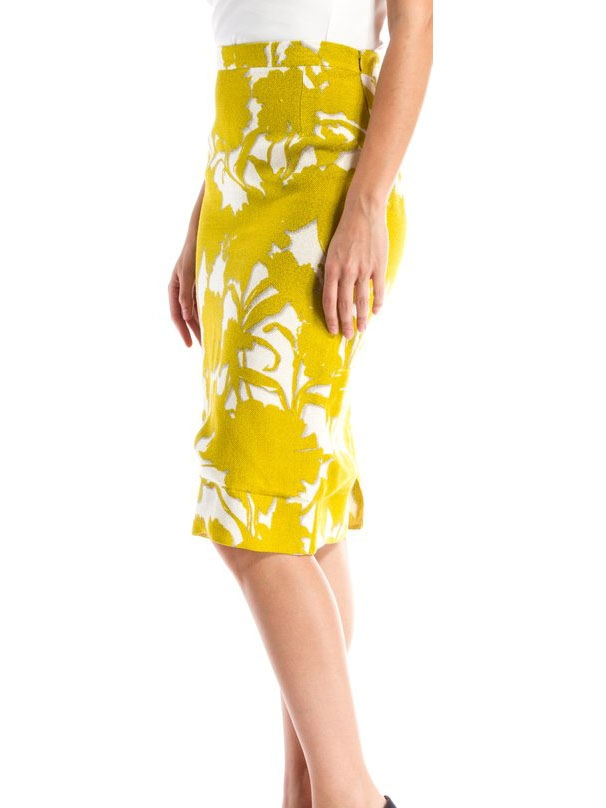 louise prada yellow and white floral printed high