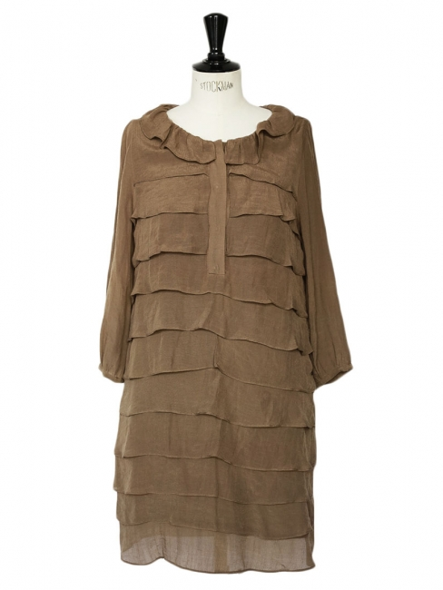 Dark khaki brown ruffled three quarter sleeves dress Retail price €195 Size 36
