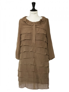 Brown ruffled three quarter sleeves dress Retail price €195 Size 36