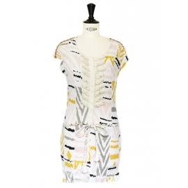 Robe en coton imprimé ethnique rose jaune et beige Taille 34/36