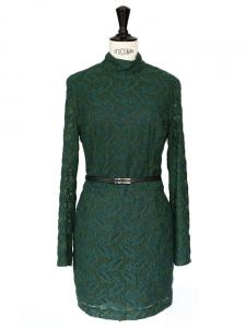 Robe Harlem Duchess en dentelle verte brodée Px boutique 435€ Taille 36