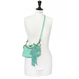 Happy Pop almond green quilted leather evening bag Retail price 950€