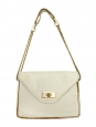 Sally ecru white grained leather shoulder bag and gold chain Retail price 1710€