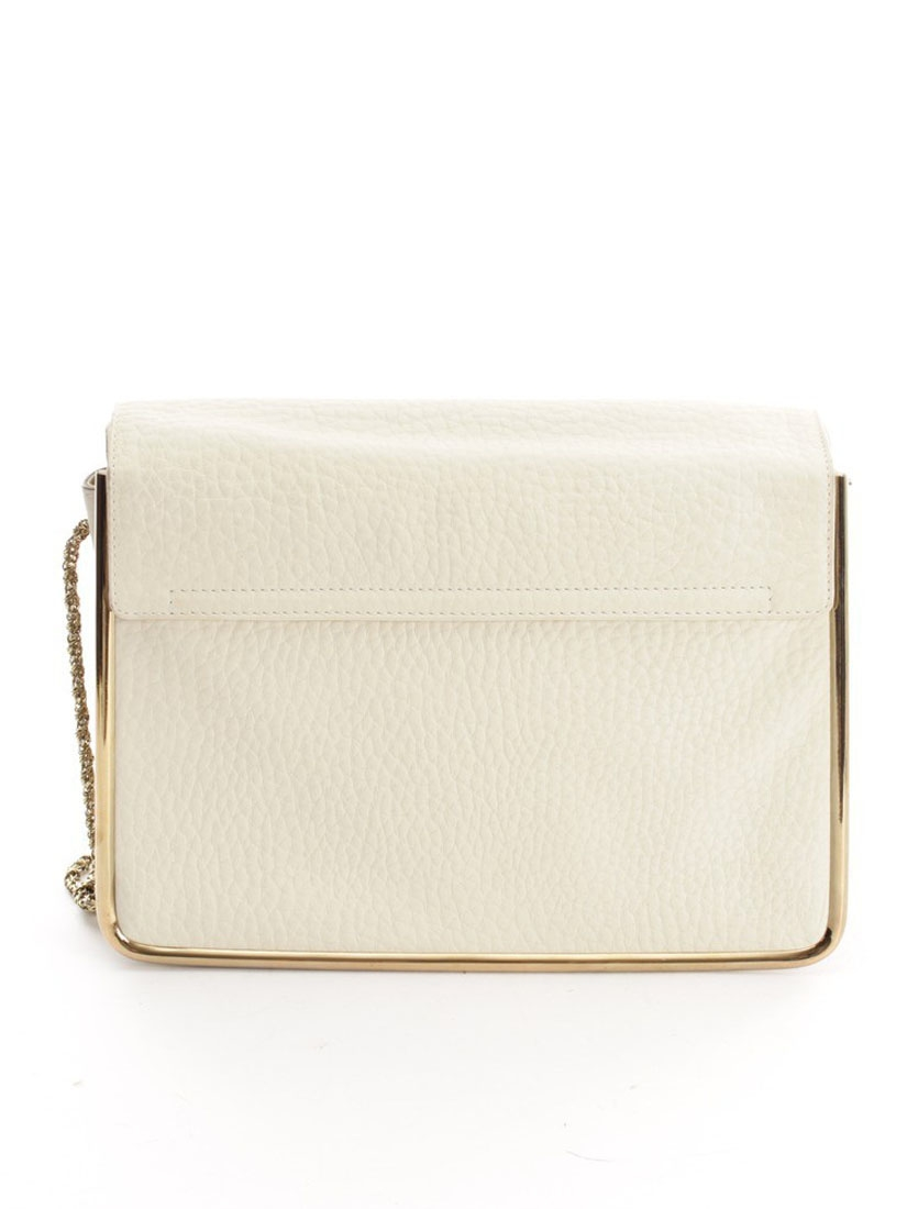 Louise Paris - CHLOE Sally ecru white grained leather shoulder bag ...