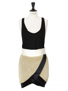 Gold black and white asymmetrical sleeveless dress Retail price €1600 Size 36