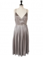 Beige silk satin dress embroidered with swarovski crystals Winter 2005 Retail price 2500€ Size 38
