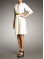 Ivory white long sleeves draped dress Retail price 2000€ Size 38/40