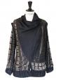 Veste RAASTA noire brodée de perles et sequins noirs et argents Taille 36