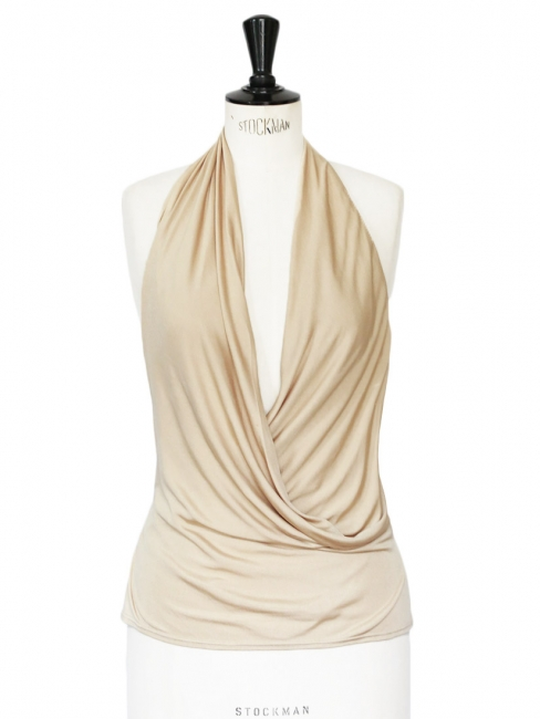Sand beige silk open back halterneck top shirt Retail price €600 Size 38