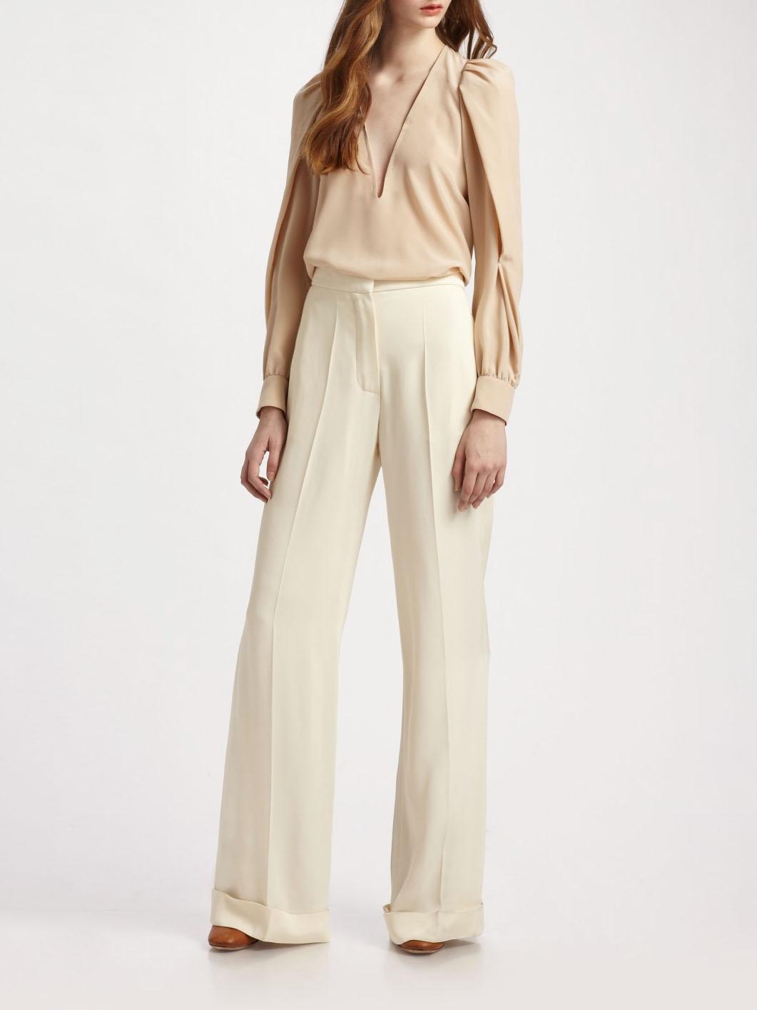 louise paris chloe pantalon tailleur droit en soie sauvage beige seigle px boutique 590 taille 38. Black Bedroom Furniture Sets. Home Design Ideas