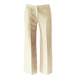 Rye beige silk straight cut wide-leg pants Retail price €600 Size 38