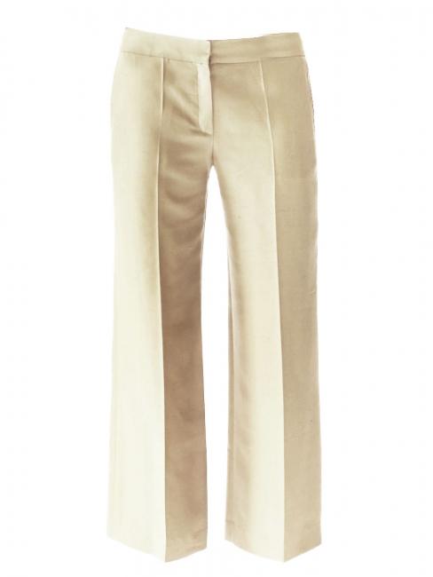 Pantalon tailleur droit en soie sauvage beige seigle NEUF Px boutique 590€ Taille 38