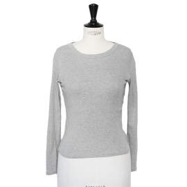 Grey cotton round neckline long sleeves top Size XS