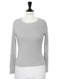 T-shirt manches longues col rond en coton gris Taille XS