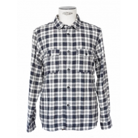 Blue and ecru checked print flannel shirt Retail price €180 Size L