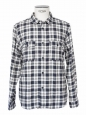 Blue / ecru check print flannel long sleeves shirt Retail price €180 Size L